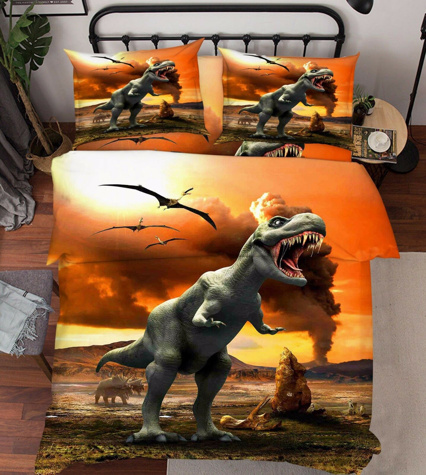 3D Dinosaur Sunset 86 Bed Pillowcases Quilt Duvet Cover Set Single Queen UK Kyra