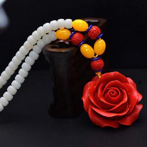 Magnifique Collier En Grandes Graines De Shiva Et Fleur Rouge Motifs