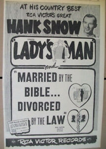 Hank-Snow-1952-Ad-Lady-039-s-Man-Married-By-The-Bible-Divorced-By-The-Law-RCA