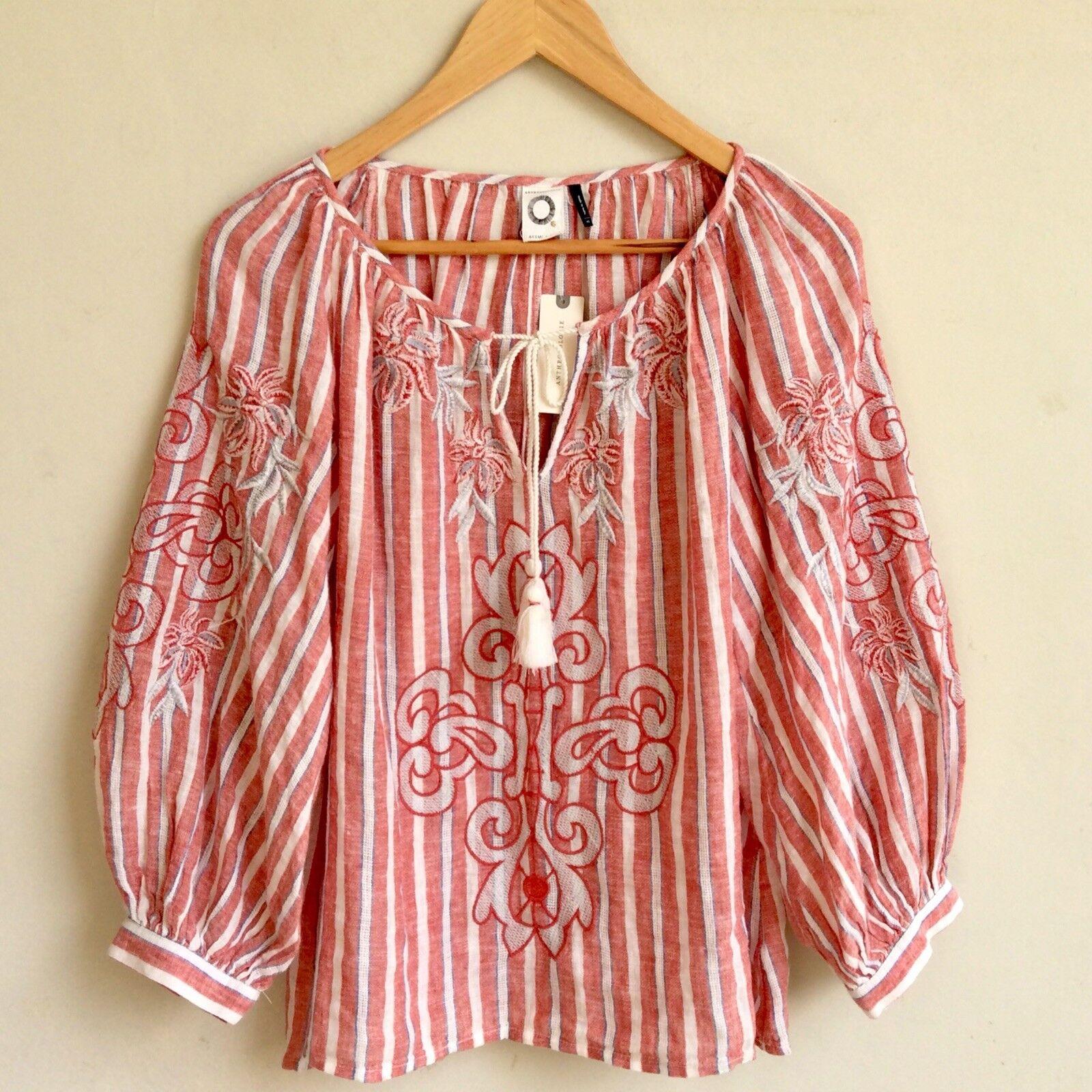 ANTHROPOLOGIE AKEMI + KIN Peasant Blouse Größe XS Embroiderot Puff Sleeve rot Top