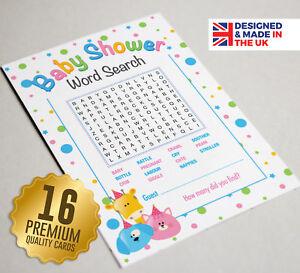 Baby Shower gioco di parole di ricerca - 16 carte A6 Party-Carino Animale Design