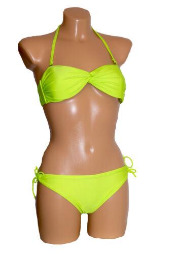 Triangle Neckholder Brazil Bikini Bandeau gedreht Twist NEON Brasil XS S 34 36