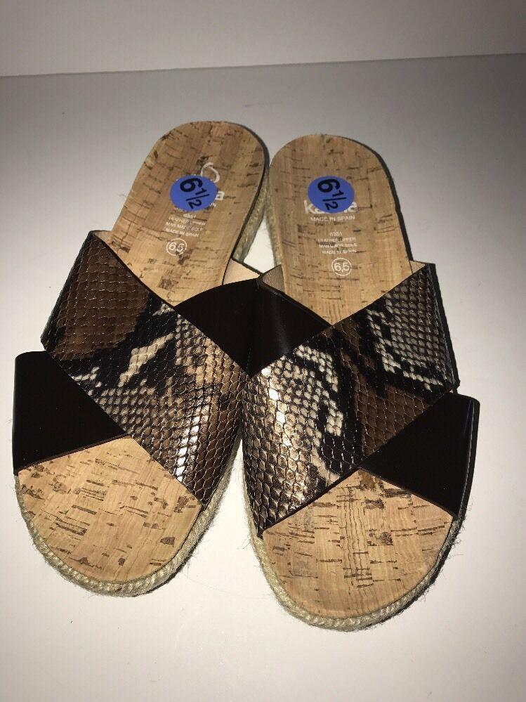 Kanna para mujer Puntera Puntera Puntera abierta Slide-On Sandalias de cruce Marrón Estampado De Serpiente Talla 6.5 Nuevo  ventas en linea