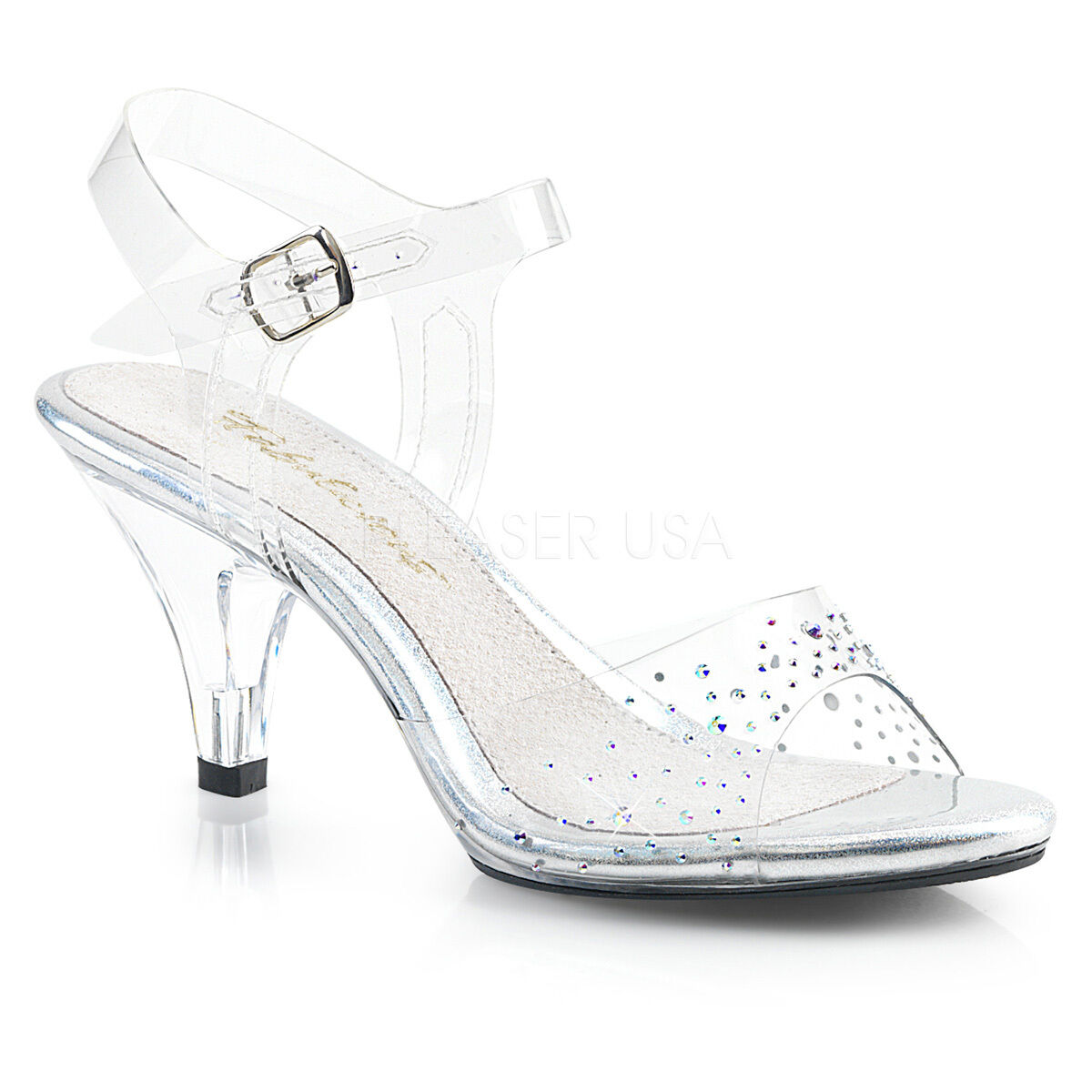 SALE PLEASER Sexy 3  Heel Clear Sandals Prom Pageant Rhinestones Women shoes 13