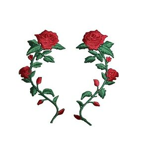 "RED ROSE 2/"" IRON ON PATCH APPLIQUE"