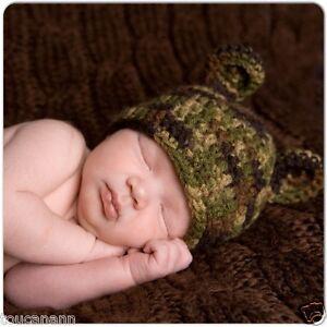CROCHET BABY CAMO BEAR EAR HAT ~ 14