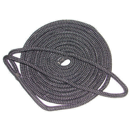 3//8 Inch x 15 Ft Black Double Braid Nylon Mooring and Docking Line for Boats