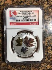 2016 Canada Silver Historic Reign 5 Maple Leaf Reverse Proof Coin Gold PF69 NGC