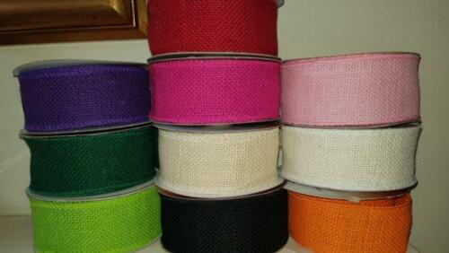 """3/"""" 2/"""" Coloured or Natural  Burlap Jute Hessian Wired  and Unwired Ribbon 1/"""""""
