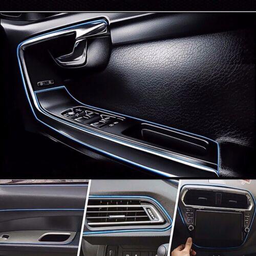 Chrome Blue Car Interior Door Gap Panel Edge Insert Molding Trim Strip Decorate