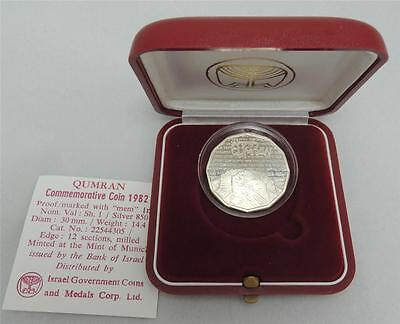 ISRAEL 1982 HOLY LAND SITES QUMRAN PROOF COIN 1 NIS 14.4gr SILVER +BOX +COA
