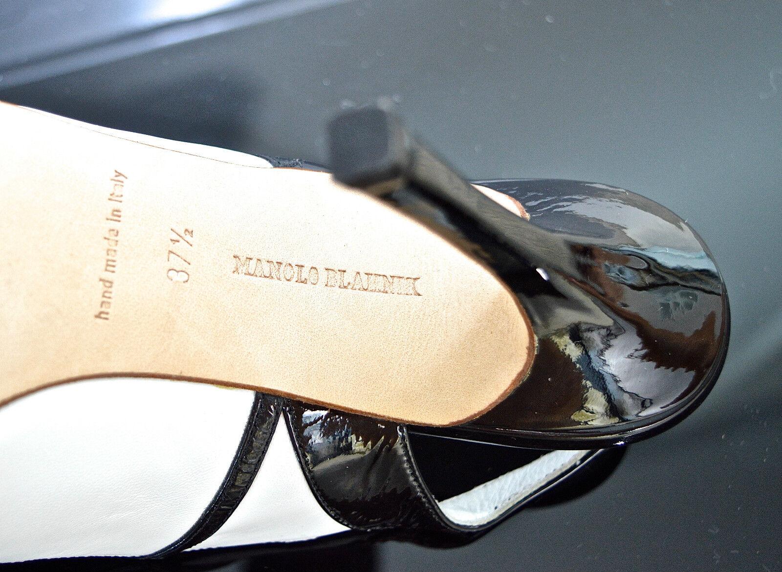 Monolo Blahnik noir et blanc en cuir bout ouvert ouvert ouvert Escarpins UK 4.5 EU 37.5 b2144e