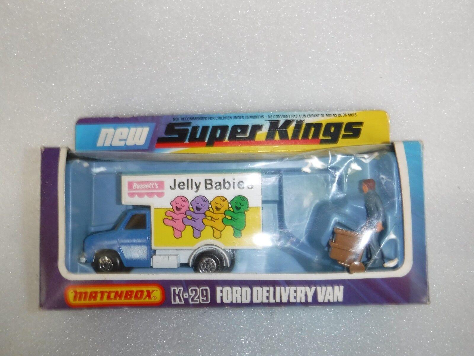 Vintage Matchbox Superkings K-29 K-29 K-29 Ford entrega van Bassetts bebés de gelatina, En Caja 9968f1