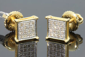 .16 CARAT YELLOW GOLD FINISH MENS WOMENS 5mm 100% REAL DIAMONDS EARRINGS STUDS