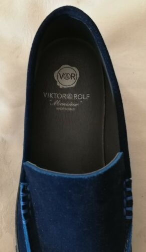 Viktor Rolf Shoe Suede Eu Mocassini Uk on Navy Slip 6 40 rawqrxTZ