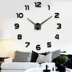 Wanduhr-Schwarz-Gross-A142-Grosse-DIY-Dekouhr-3D-Wand-Uhr-Wandtattoo-XL-XXL-Modern