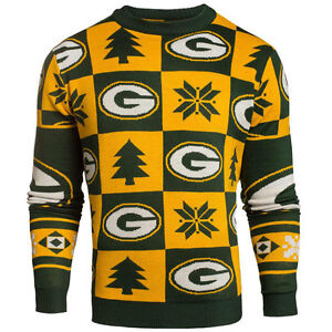 new styles 8f713 81d68 Details about Green Bay Packers Ugly Patches Christmas Sweater NEW All Sizes