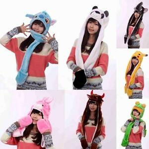 a7a78283a02 Image is loading Plush-Cartoon-Animal-Winter-Hooded-Hat-Beanie-with-