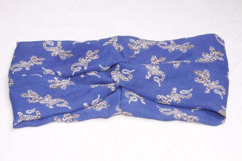 S132 Blue Beige /& White Baby Lizards Print Infinity Twist At Front Headband