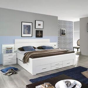 bett friedberg schlafzimmerbett doppelbett in wei mit stauraum 180x200 cm ebay. Black Bedroom Furniture Sets. Home Design Ideas