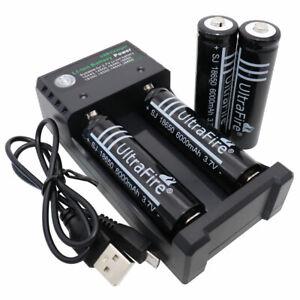4X-18650-Batterie-6000-mAh-3-7-V-Li-ion-Rechargeable-2-emplacements-Chargeur-Smart-PRISE-USB