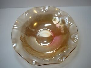 Marigold-Iridescent-Floral-Yellow-Gold-Vintage-Carnival-Glass-Bowl-11-5-034