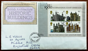 British-Architecture-Historic-Buildings-FDC-1st-Miniature-Sheet-1978-Inserts