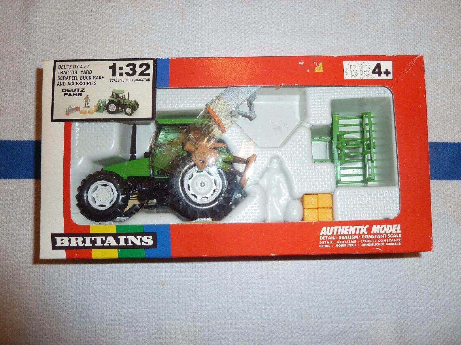 Britains  9654 Deutz Fahr Tractor Con Raspador De Jardín, Rastrillo De Buck Y Accesorios