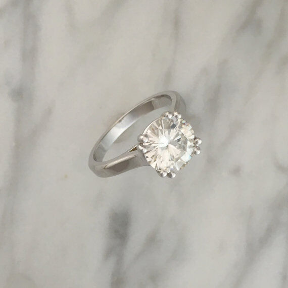 3.00 Ct Round Solitaire Moissanite Engagement Ring 14K Real White gold Rings 090