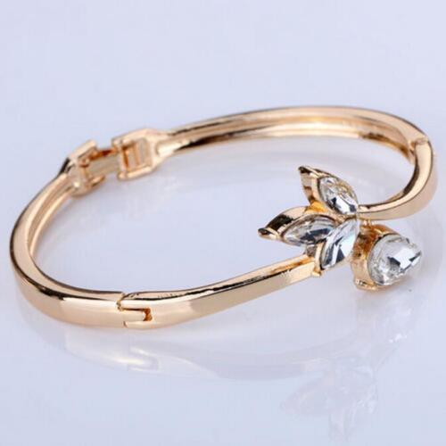Alloy Women Ladies Bracelet Bangle Gold Flower Rhinestone Cuff Bracelet JewePTH
