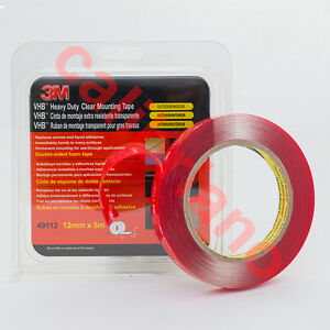 3M 1/2in x 15ft VHB Heavy Duty Mounting Clear Tape 49112 thick 1 mm
