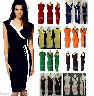 WOMENS CELEBRITY BUSINESS Wear to Work Casual Buttons wiggle Pencil A Midi Dress