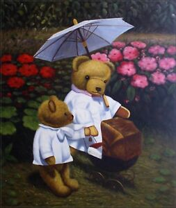 Hand-Painted-Oil-Painting-Mother-and-Kid-Teddy-Bears-20x24in