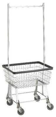 NEW! COMMERCIAL WIRE LAUNDRY BASKET CART W//HANGER RACK