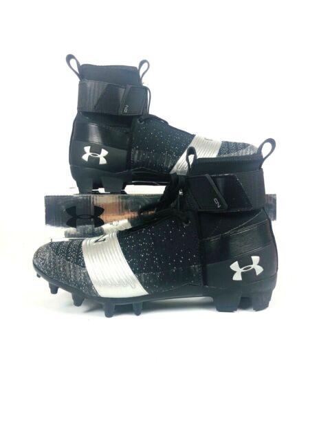 Under Armour C1N MC Cam Newton High Football Cleats Black//Silver 3000175-001