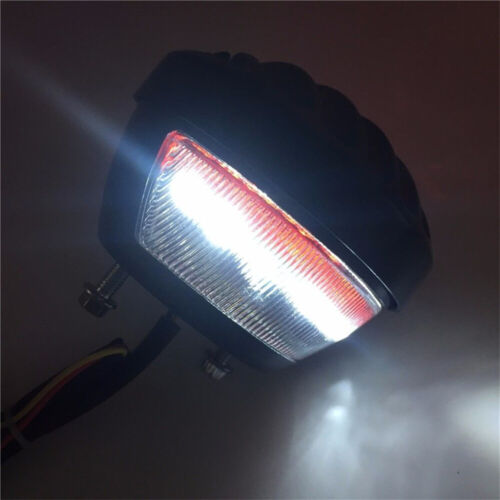 Motorcycle Black Plastic Grille Ribbed Round LED Tail Brake Light Red Lens