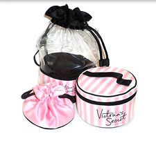 NWT VICTORIA'S SECRET PINK MULTI DRAWSTRING COSMETIC TRAVEL STRIPE TRIO BAG SET