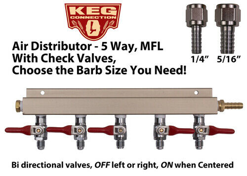 Air Distributor Splitter MFL Check Valves Pick your Size! CO2 Beer Manifold