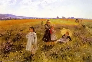 Oil-painting-emil-czech-summers-day-mother-with-children-free-shipping-cost