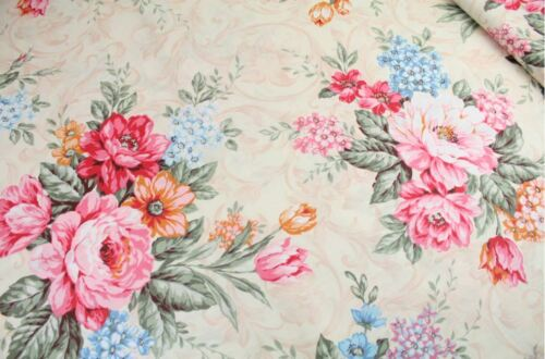 "Big Floral 100/% cotton fabric Dress Material  Sold By Meter 63/"" width 1709008"