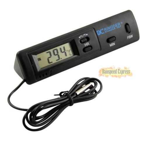 LCD Digital Auto Thermometer Clock Vehicle Car Temperature Meter 2Sensor Probes