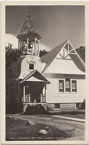 New-York-NY-Real-Photo-RPPC-Postcard-INLET-Church-of-the-Lakes-c1940s