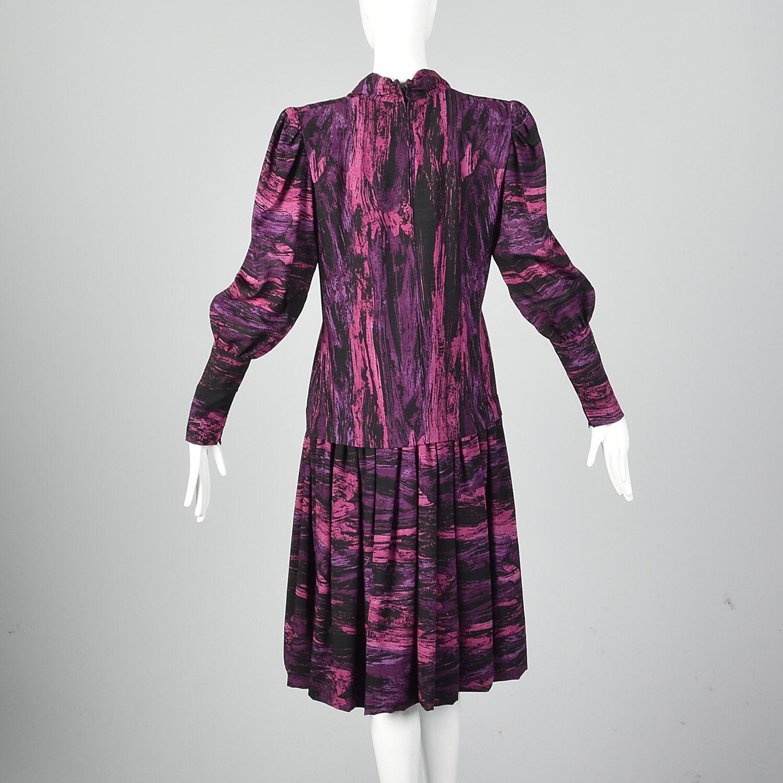 Medium Pauline Trigere 1980s Drop Waist Dress Vin… - image 5
