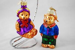 Set-of-2-Blown-Glass-Teddy-Bear-Ornaments-Boy-amp-Girl-Pair-3-5-034-Tall