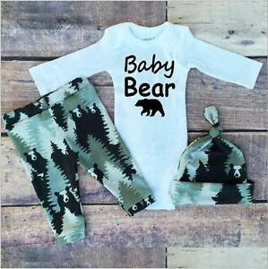 Newborn Baby Boy Girl Forest Romper Tops+Long Pants+Cap 3PCS Outfits Set Clothes