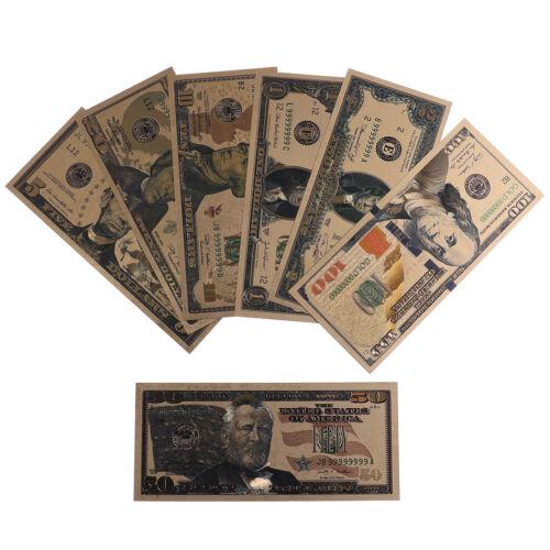 7Pcs//set commemorative gold foil usa dollars paper money banknotes collections T