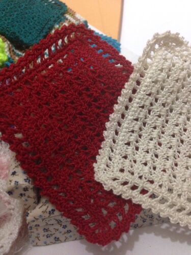 2 Crocheteded Miniature Dollhouse Afghan Blankets Cream and Red