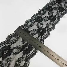 "By Yard 10.5cm ( 4.1"") wide nice Lace Trim BLACK Designer Material #1006"