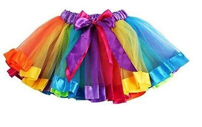 Femmes tutu jupe fantaisie jupes dress up hen party rainbow multicolore 80s neuf