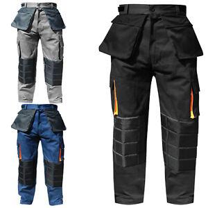 Pantalones-cargo-Pantalones-Cordura-De-Trabajo-Work-Wear-de-combate-Varios-Bolsillos-Rodilleras